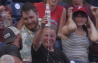 Foul ball drenches fan with his own beer