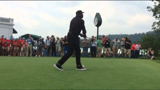 Hilarious: Shaquille O'Neal misses the ball entirely on a tee shot