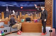 "Jimmy Fallon & LeBron James play ""Faceketball"" with mini-baskets on their heads"