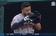 Jose Altuve caught gnawing on his batting helmet