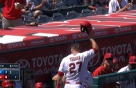 """Mike Trout crushes a oppo grand slam into a fans """"Trout Net"""""""