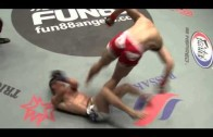 MMA fighter does a flip & kicks opponent in the groin on landing