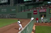 Dez Bryant of Baseball: Mookie Betts makes catch but tumbles over wall causing a home run