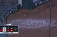 Rain leaks through the Chase Field roof