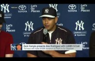 Zack Hample presents  Alex Rodriguez with 3,000th hit ball