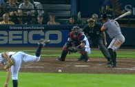 AJ Pierzynski jokingly frames a pitch that bounced in the dirt