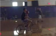 Klay Thompson hits half court shot on his bike