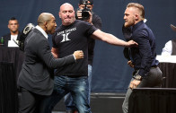Conor McGregor & Jose Aldo face to face & almost come to blows