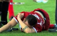 Awful: Soccer player Ezequiel Ham breaks leg on kick (*Viewer Warning*)