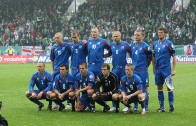 The Icelandic National Team celebrating first Euro Qualification