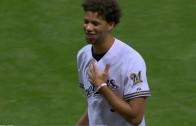 Michael Carter-Williams' first pitch drills camera at Brewers game