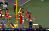 West Virginia WR Shelton Gibson plows through Maryland cheerleaders after TD