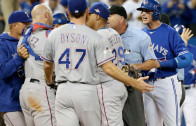 Rangers pitcher Sam Dyson taps Troy Tulowitzki causing benches to clear again