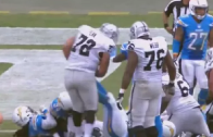 Chargers' Corey Liuget kicks Raiders' Donald Penn in the stomach