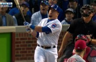 Kyle Schwarber blasts a homer out of Wrigley Field