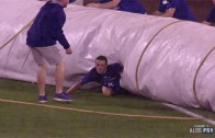 Royals grounds crew member barely escapes tarp