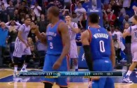 Victor Oladipo & Russell Westbrook exchange last second 3 balls