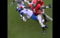 Georgia RB Keith Marshall with a beast mode stiff arm