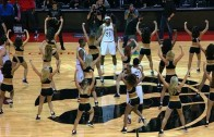LeBron James and the Cavs surrounded by Toronto Raptors dancers