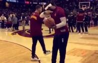 LeBron James hits a dab in pre-game warmups