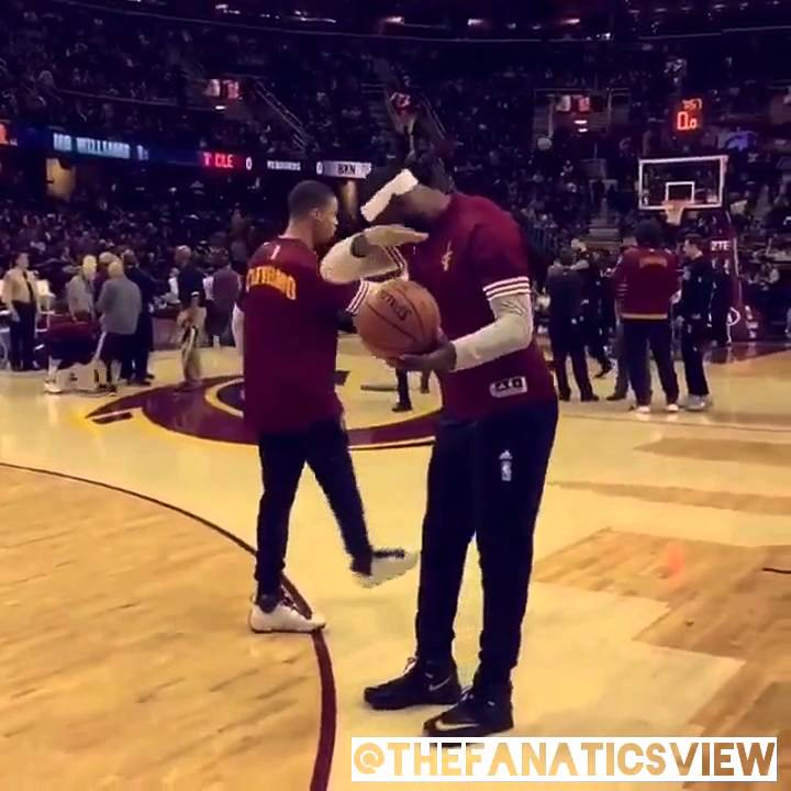 LeBron James hits a dab in pre-game warmups