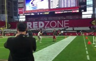 Matt Barkley jogs on field half naked because of lost bet?