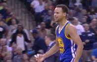 Steph Curry banks in a 3-pointer while bumped with no call