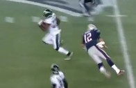 Tom Brady attempts to make a tackle after INT