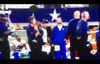 Cowboys safety Barry Church gets unexpectedly hit with a thrown away ball