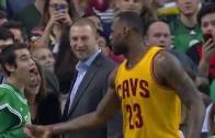 LeBron James congratulates Special Olympian during Celtics game