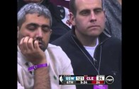Cavs fan caught falling asleep & another caught picking his nose