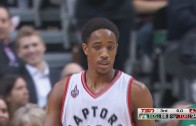 DeMar DeRozan hits a sky high floater after the whistle