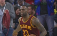 LeBron James chewed into Tristan Thompson on the court