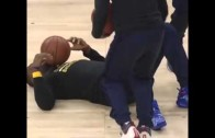 LeBron James gets drilled in the face with a basketball