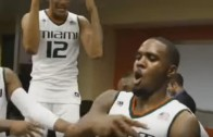 Miami Hurricanes lit in the locker room after defeating Duke