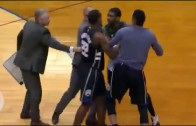 OJ Mayo has to be restrained by Bucks coaching staff after ejection