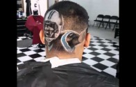 Panthers fan gets Cam Newton haircut by The Barber Joe (San Antonio, TX)