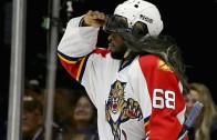 PK Subban dressed up as Jaromir Jagr for the Breakaway Challenge