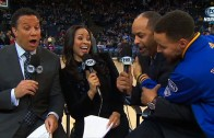 Stephen Curry video bombs dad during pregame