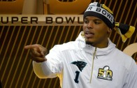 Cam Newton drops a freestyle at SB50 media day