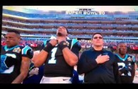 Cam Newton was zoned in hard for the National Anthem
