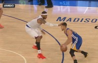 Carmelo Anthony defends Steph Curry by putting his hand on his head