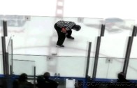 Fan throws beer right in the nuts of a hockey ref