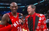 LeBron James crashes Kobe Bryant's half time interview