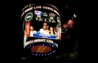 Meek Mill dabs with Nicki Minaj at the Philadelphia 76ers game