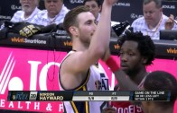 Patrick Beverley trying to punk Gordon Hayward on his free throws