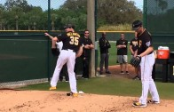 Pittsburgh Pirates pitchers try out new protective hats