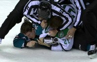 Scary moment: Antoine Roussel of the Dallas Stars takes puck to back of the head