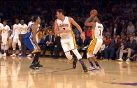 D'Angelo Russell imitates Stephen Curry with no look 3 ball