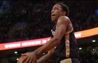 DeMar DeRozan throws down beautiful windmill after the whistle
